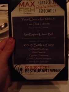 The 2013 CT Restaurant week menu