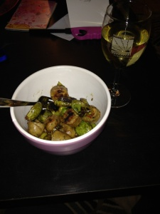 Powerbowl with chicken sausage and brussels
