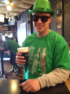 Dan with our beer of choice for the day, Guinness!