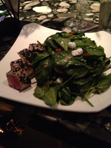 Spinach salad with ahi tuna