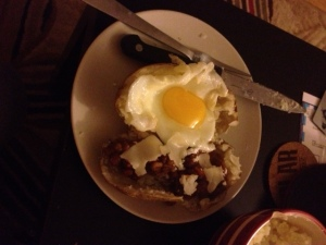I will put anything in a baked potato skin. This was an egg in one half and Amy's veggie chili in the other.