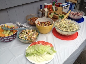 Just a small sample of the amazing food at Brian and Natasha's summer party. I made the bean salad in the yellow bowl.