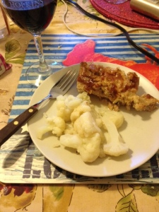 Meatloaf never looks pretty and I should have paired it with something other than blah cauliflower. But it was delish!