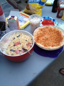 Some of the yummy eats from the softball party. I made the pasta salad!