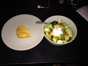 The avocado was an excellent topping. We also enjoyed some cornbread on the side :)