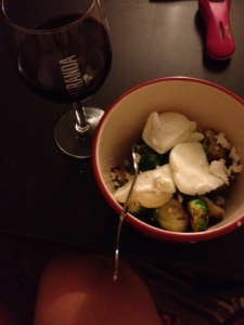 Poached eggs, Brussels, lentils, and goat cheese