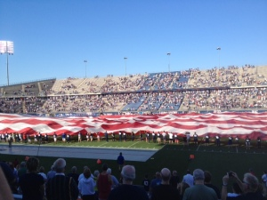 They rolled out a huge American flag on the field for military appreciation day