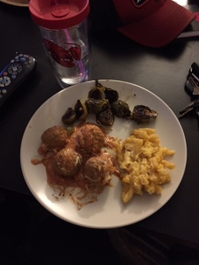 I paired the meatballs with a side of Brussels (duh) and homemade mac and cheese from the previous night