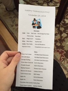 Dan's Mom printed the most adorable little menus!