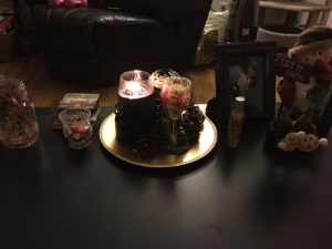 Our coffee table, clearly I don't have an obsession with candles ;)