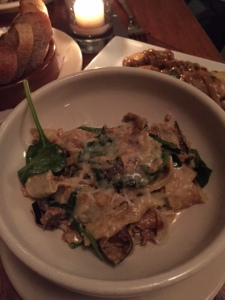 Eggplant Pappardelle in manchego broth with spinach (Dan's favorite)