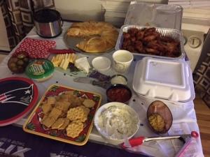 Buffalo chicken dip, stromboli, wings, garlic garlic dip, hummus, salsa, cheese and crackers... SO much yum