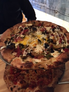"This pizza was called ""Keelin"" and had corned beef, brussels, kale, mozz, dijon aioli, and of course we added an egg"