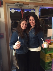 Natasha and I modeling our matching jean jackets and ice cream (duh)