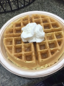 I haven't had a belgian waffle in ages. This was from the hotel this past weekend in NJ for my cousin's grad party