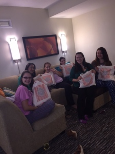 My ladies opening their gifts, stored in their personalized tote bags :)